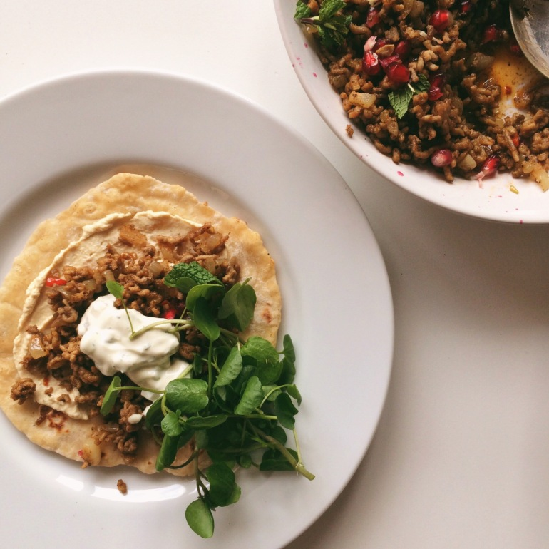 Spicy Lamb Flatbreads with Houmous and Tzatziki