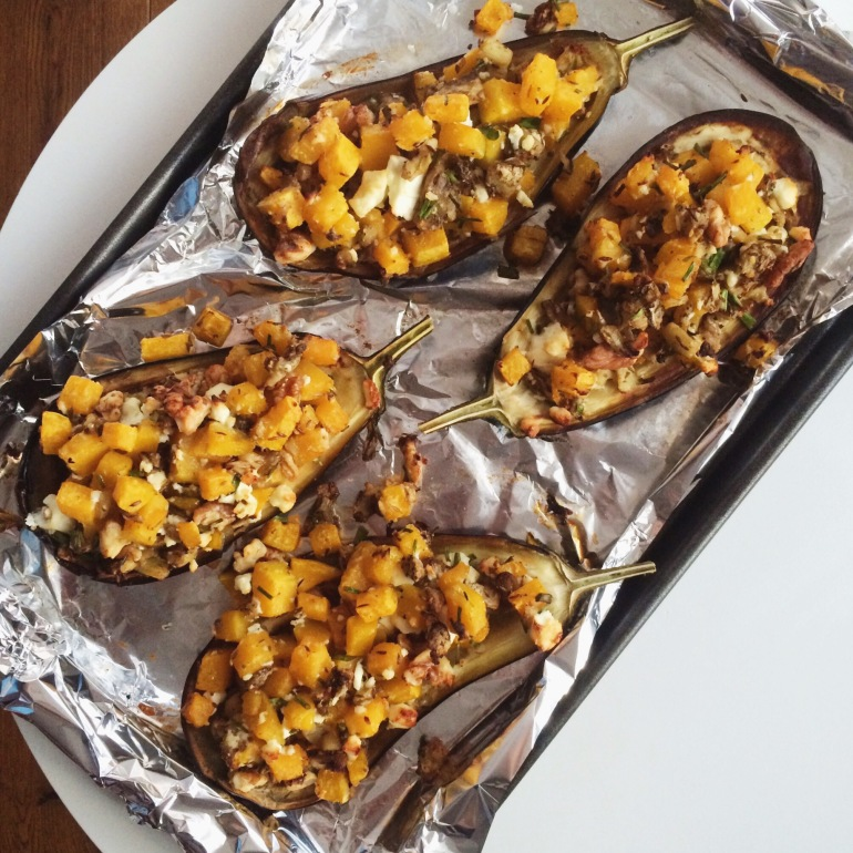 Aubergines Stuffed with Squash and Feta