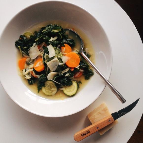 Summer Veg Soup with Pasta andPesto