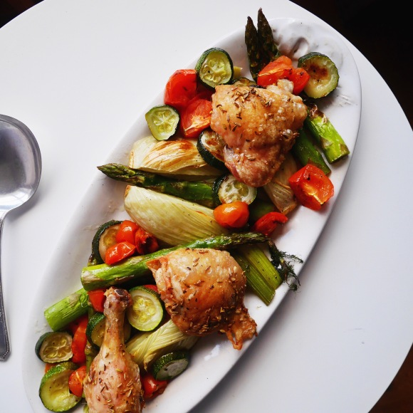 Roast Chicken with 'Use Up'Veggies