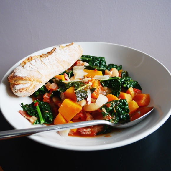 Squash, Bacon and Kale Soup with ButterBeans